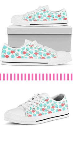 A unique and original pair of high quality, Vans style, low top sneakers with funky pink flamingo print on a white background dotted with aqua and gold. #ad #flamingos #etsyseller #sneakers #tennisshoes