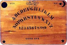 """The ouija (/ˈwiːdʒə/ WEE-jə), also known as a spirit board or talking board, is a flat board marked with the letters of the alphabet, the numbers 0–9, the words """"yes"""", """"no"""", """"hello"""" (occasionally), and """"goodbye"""", along with various symbols and graphics. It uses a planchette (small heart-shaped piece of wood or plastic) as a movable indicator to indicate a spirit's message by spelling it out on the board during a séance. Participants place their fingers on the planchette, and moved on the…"""