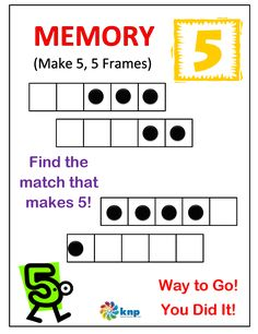 """""""Memory (Make 5,5 Frames)"""" - Match two number together that add up to 5. Supports learning Common Core Standards: 0-K.OA.5, 0-K.OA.3 [KNP Task # S 2210.1]"""
