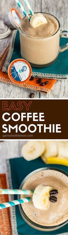 Packed with protein and full of coffee flavor, this Easy Coffee Smoothie recipe makes breakfast a snap! #coffee #smoothie
