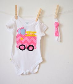 Pink Chevron Fire Truck Appliqué Baby Girl Daddy by FatFoxDesigns