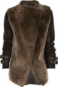GAR-DE - Leather-sleeve shearling jacket...