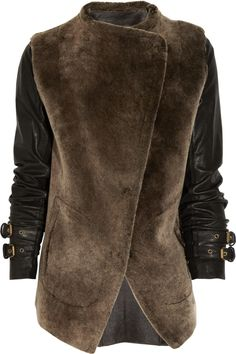 GAR-DE Leather-sleeve shearling jacket