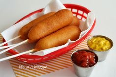Homemade Carnival Corn Dogs -- Tastier than the frozen, and honestly, healthier!
