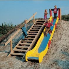 stairs with slide in hill need this at my parents house