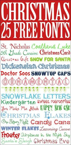 Perfect for Christmas cards, invitations, or printables… 25 FREE Christmas Fonts. Perfect for Christmas cards, invitations, or printables! Christmas Fonts, Christmas Crafts, Holiday Fonts, Cricut Christmas Cards, Free Printable Christmas Cards, Christmas Doodles, Xmas, Christmas Ideas, Christmas Ornaments