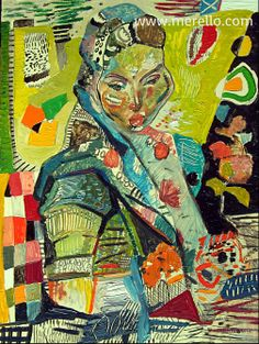 """L'ÉCHARPE INDIENNE. ART ESPAGNOL.  José Manuel merello.- """"El pañuelo indio""""  //  """"Indian scarf""""   Art espagnol. Peinture actuelle. Art contemporain. Peintres espagnols modernes. Expressionnisme et le surréalisme. La couleur dans l'art moderne. Artistes XXI-21-ème siècle."""