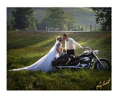 I love motorcycles, had to have a bride and groom motorcycle shot.