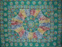 "Batik Tapestry Cotton Bedspread 108"" x 88"" Full-Queen Green"