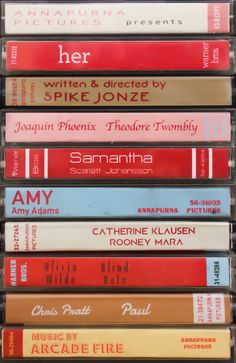 Film poster for Spike Jonzes Her, made by reimagining the film as cassette tapes. LARGE - x MEDIUM - x SMALL - 196 x aesthetic Her Film Poster, cassette artwork by Jordan Bolton Casette Tapes, Cassette, Book Posters, Poster Series, Tv Series, Photo Wall Collage, Picture Wall, Joaquin Phoenix, Clockwork Orange Film