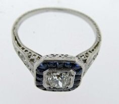 Art Deco Diamond and Sapphire Ring at 1stdibs
