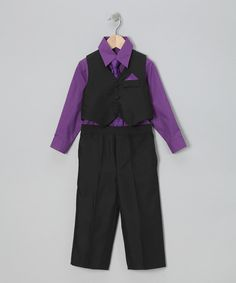 Take+a+look+at+the+LA+Sun+Black+&+Purple+Vest+Set+-+Infant,+Toddler+&+Boys+on+#zulily+today!