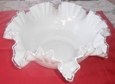 This is a beautiful Peach Crest Shell Bowl by Fenton Glass. This bowl was made between and it's their number The bowl is approx. Fenton Glassware, Pie Dish, Dory, Milk Glass, 1950s, Peach, Silver, Vintage, Beautiful