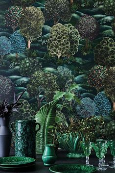 This stunning Forest wallpaper by Cole and Son forms part of the Botanical Botanica Collection and features large scale hand painted trees along rolling green fields This. Cole And Son Wallpaper, Green Wallpaper, Beautiful Wallpaper, Retro Wallpaper, Nature Paintings, Landscape Paintings, Dappled Light, Forest Wallpaper, Bathroom Wallpaper Forest