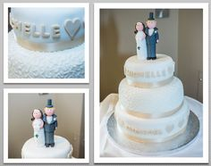 Simple 3 tier Wedding cake, with light peach ribbon and Newly Weds as cake toppers.