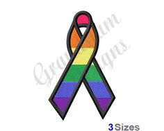 Rainbow Ribbon Machine Embroidery Design | Etsy