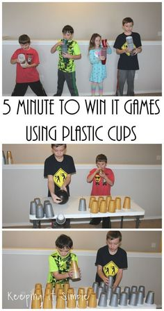 These Minute to Win it games using plastic cups are perfect for kids or adults! Great for any kind of party: birthday, New Years Eve or any holiday.
