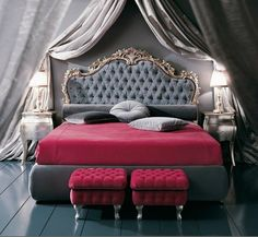 headboard / bed pink and gray