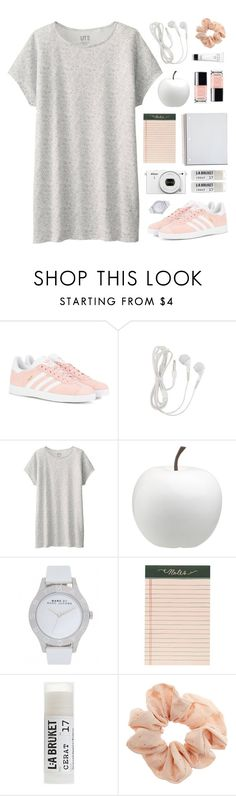 """""""Just Peachy"""" by amazing-abby ❤ liked on Polyvore featuring adidas Originals, Uniqlo, CB2, Marc by Marc Jacobs, Rifle Paper Co, Toast, Topshop and Bobbi Brown Cosmetics"""