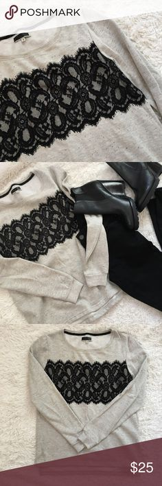 """NWOT Lace Front Sweatshirt Heather oatmeal colored slightly hi-low with black lace front. Size medium, but would def also work for a small. Length front: 24"""", Length back: 25.5"""", pit to pit: 19.5"""". ALL OFFERS CONSIDERED  Tops Sweatshirts & Hoodies"""