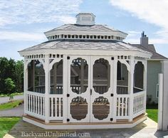10'x14' Vinyl Oval Colonial Style Gazebo with Pagoda Roof, Screen Package, and Cupola http://www.backyardunlimited.com/gazebos