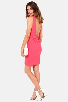 Bow Do You Do? Coral Backless Dress at LuLus.com!
