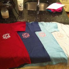 Monogrammed Pocket Tee. $19.95, via Etsy.  To wear to the airport the day we leave for our honeymoon!