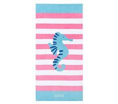 Seahorse Classic Stripe Beach Towel | Pottery Barn Kids