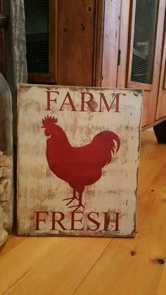 Rustic, Distressed, Farm Fresh, Rooster - Painted Wood Signs by RedstoneFrames on Etsy