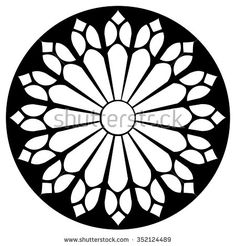 Gothic rosette window pattern, vector black and white illustration , Stained Glass Tattoo, Stained Glass Art, Simple Skull, Inkscape Tutorials, Gothic Pattern, Gothic Windows, Cathedral Windows, Church Windows, Rose Window