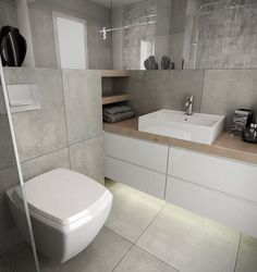 Idei și sfaturi pentru amenajarea băilor mici | Adela Pârvu - Interior design blogger Bathroom Layout, Bathroom Interior Design, Bathroom Styling, Bathroom Storage, Grey Bathrooms, White Bathroom, Small Bathroom, Wc Design, House Design