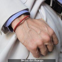 Rotes Geflochtenes Armband. Unisex Leder Schmuck von NadinArtDesign auf DaWanda.com