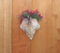 Clay Leaf Wall Pocket Medium  Made with Real by SallysClay on Etsy, $16.50