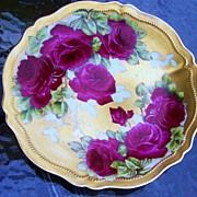 "Royal Austria 1900's Hand Painted ""Rose DuBarry"" 9-5/8"" by Artist, ""Fonn"""