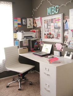 nice work space.. strip away the pink and hearts it fits for males too