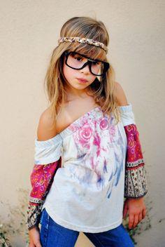 Poor Pitiful Pearl Kids Mixed Sleeve Owl Oxy /// #poorpitifulpearl #children #clothing #kids #girls #ooak #oneofakind #handmade #precious #boho #hipster #owl