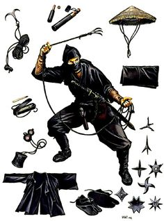 Ninja in traditional costume with essential personal equipment