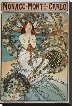 Alphonse Mucha, Monte Carlo, Art Nouveau Illustration, Art Nouveau Poster, Retro Poster, Vintage Posters, Vintage Art Prints, Mary Engelbreit, Stretched Canvas Prints