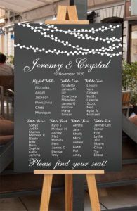 NZ Made Wedding Sign, Personalised seating plan chart print on Foamboard for party / event Party Venues, Unique Presents, Wedding Welcome, Personalized Signs, New Sign, Wall Signs, Wedding Signs, Signage, Wall Decals