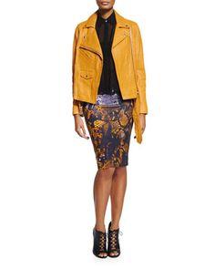 Classic+Lambskin+Biker+Jacket,+Volume+Sleeveless+Shirt+&+Snake-Print+Contour+Pencil+Skirt+by+McQ+Alexander+McQueen+at+Bergdorf+Goodman.
