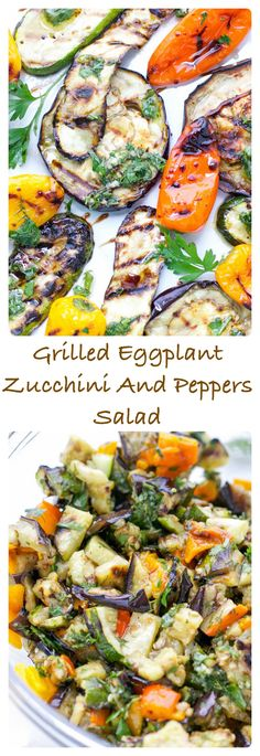 Grilled Eggplant Zucchini and Peppers Salad grilled-zucchini-eggplant-peppers-salad-side-dish: grilled-zucchini-eggplant-peppers-salad-side-dish Zucchini Aubergine, Healthy Eggplant, Eggplant Salad, Roast Eggplant, Healthy Recipes, Lunch Recipes, Vegetable Recipes, Salad Recipes, Vegetarian Recipes