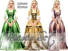 Sims 4 Updates: Sims Fans - Clothing, Female : Rococo 2 historical gowns by lenina_90, Custom Content Download!
