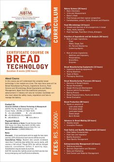 Start your career with bakery courses training under world-class mentors. Choose bakery certification courses, bakery management courses or bakery confectionery courses for ever-growing career. Certificate Courses, Certificate Programs, Vitamin A Foods, September 10, July 17, Microbiology, 8 Weeks, Group Meals, Confectionery