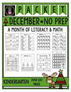 *NO PREP Packet *Over 100 Pages! *Fun and Engaging *Meets Kindergarten Standards Activity Centers, Math Centers, Christmas Alphabet, Letter Worksheets, Math Addition, Writing Numbers, Kindergarten Worksheets, Counting, Prepping
