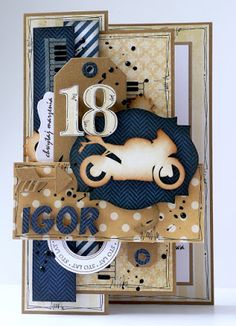 18th Birthday Cards, Birthday Scrapbook, Masculine Cards, Mixed Media, Paper Crafts, Holiday Decor, Frame, Diy, How To Make