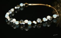 White Freshwater Pearl Moonstone Crystal and Swarovski Beads Floating Wire Gold Plated Short Necklace by EmeraldaCrystal on Etsy