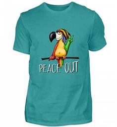 Hochwertiges Herren Organic Shirt - Reggae Papagei  Peace Out - ein  Statement für Coole Vielfarbigkeit 1c0a5565dc
