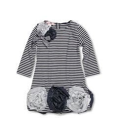 Biscotti Ship Shape Girls' Striped Knit Dress with Flower Hem (Little Kids)