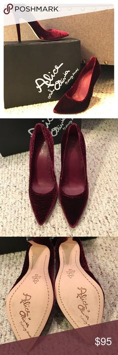 Alice & Olivia burgundy Devon heels 🎉 Excellent condition, as seen in photos! Reposhing because they didn't fit. Size 39, so would work well for a size 8. Hardly worn at all from previous posher. These are so gorgeous and special! I will send them with the original box. 💕 Alice + Olivia Shoes Heels