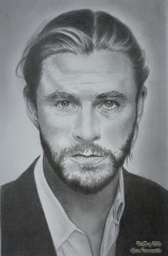 Chris Hemsworth by Phildef - this sketch could almost be the basis for the creation of a real flesh silicone mask - as it looks a guy is wearing a Chris Hemsworth mask.